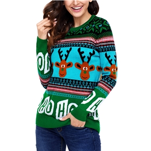 Christmas Elk Round Neck Reindeer Letter Print Pullover Sweater