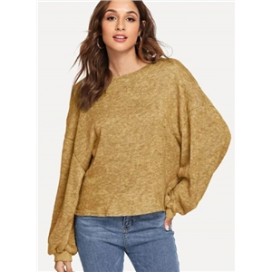 TRound Neck Solid Color Long Sleeve Loose Sweater