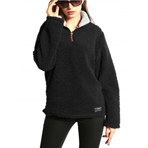 Warm Fleece Long Sleeve Plus Size Pullover Sweater