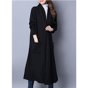 Casual long Sleeve Open Front Slit Cardigan With Pockets