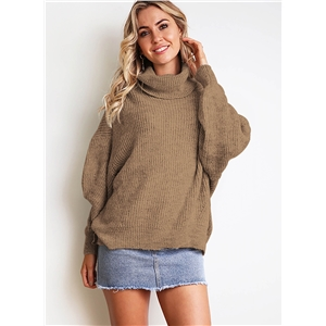 Hign Neck Solid Color Long Sleeves Loose Casual Sweater