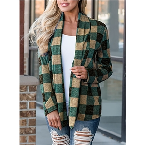 Fashion Plaid Stitching Long Sleeve Cardigan