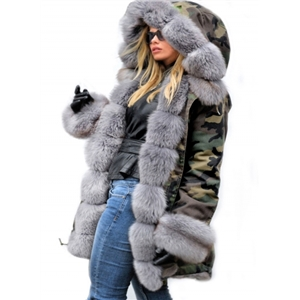 Slim-fit Warm Camouflage Long Fur Collar Hooded Cotton Coat