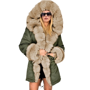 Long Fur Collar Solid Color Slim Hooded Warm Cotton Coat