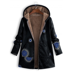 Fashion Pattern Printed Plush Hooded Jacket Coat
