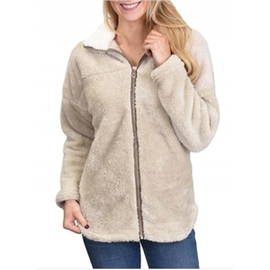 Warm Lapel Zipper Woolen Plush Cardigan Coat