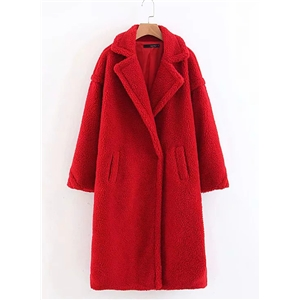 Warm Lamb Fur Solid Color Long Loose Coat