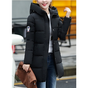 Fashion Solid Color Loose Pocket Cotton Hooded Coat