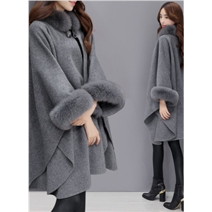 Fox Faux Fur Collar Long Woolen Cloak Shawl Coat