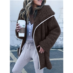 Solid Color Plush Trench Lamb Fleece Coat