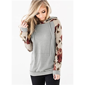 Lace-up Printed Long Sleeve Hooded Top Sweatshirt