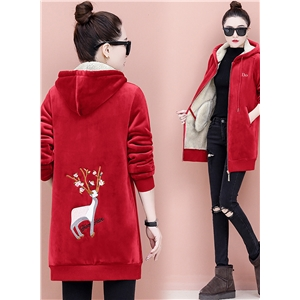 Double-sided Velvet Deer Printed Hoodie Sweatshirt