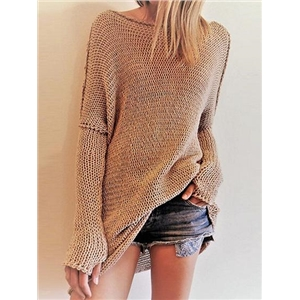 Camel Brown Crew Neck Long Sleeve Women Knit Sweater