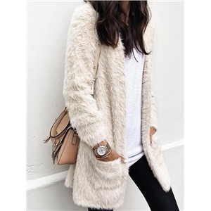 White Open Front Pocket Detail Long Sleeve Women Fluffy Cardigan