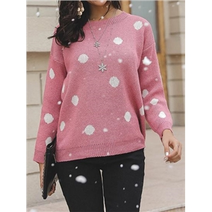 Pink Crew Neck Polka Dot Print Long Sleeve Women Sweater
