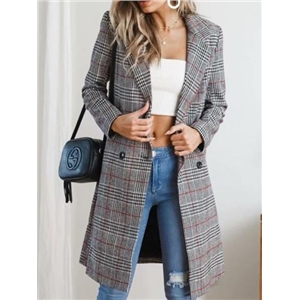 Red Plaid Lapel Pocket Detail Long Sleeve Women Coat