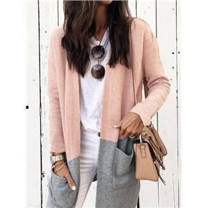 Pink Contrast Cotton Open Front Long Sleeve Women Cardigan