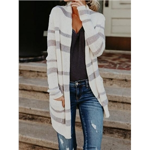 White Stripe Open Front Long Sleeve Women Knit Cardigan