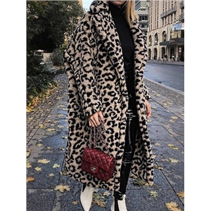 Brown Lapel Leopard Print Long Sleeve Faux Shearling Coat