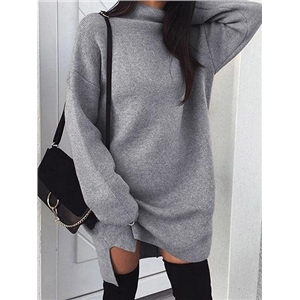 Gray Cotton Blend High Neck Long Sleeve Women Mini Dress
