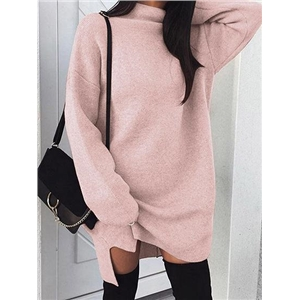 Pink Cotton Blend High Neck Long Sleeve Women Mini Dress
