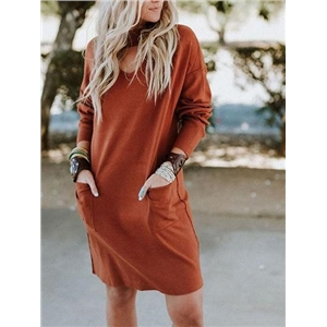 Orange V-neck Pocket Detail Long Sleeve Women Mini Dress
