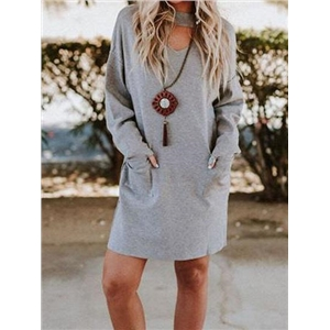 Light Blue V-neck Pocket Detail Long Sleeve Women Mini Dress