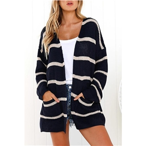 Casual Striped Long Sleeve Open Front Cardigan