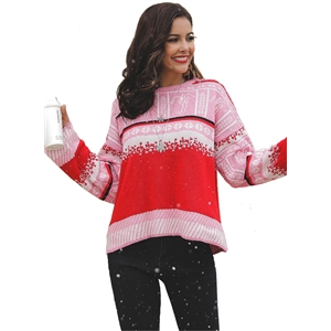 Retro Wild Match Contrast Color Christmas Snowflake Casual Sweater