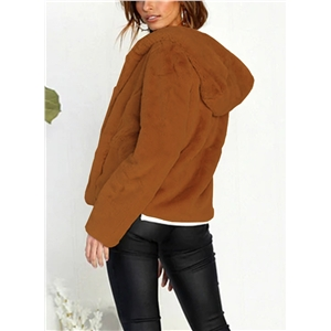 Solid Color Long Sleeve Plush Hooded Cardigan Coat