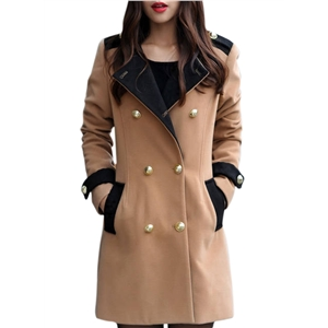 Fashion Color Block Double Breasted Woolen Blend Coat