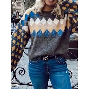 Multicolor Argyle Print Puff Sleeve Women Knit Sweater
