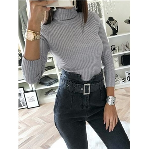 Gray Ribbed High Neck Long Sleeve Women Bodysuit