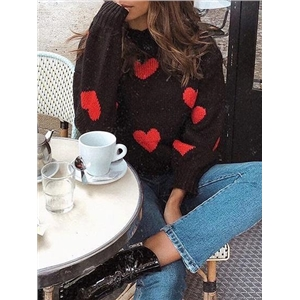 Black High Neck Heart Print Long Sleeve Women Sweater