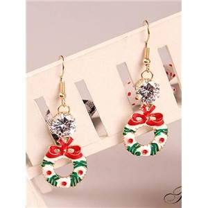 Polychrome Christmas Crystal Detail Circle Earrings