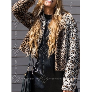 Brown Leopard Print Long Sleeve Women Faux Fur Fluffy Coat
