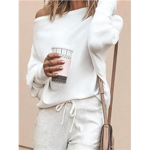 White Ribbed Off Shoulder Batwing Sleeve Women Sweater