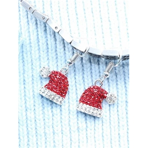 Red Christmas Hat Rhinestone Embellished Earrings