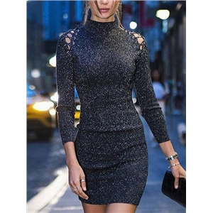 Black Ribbed High Neck Lurex Yarn Long Sleeve Bodycon Mini Dress
