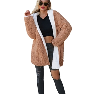 Contrast Color Double-faced Plus Size Plush Hooded Coat