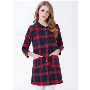 Plaid Round Neck Slim Long Sleeve Pocket Woolen Coat