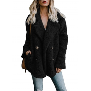 Plush Lapel Solid Color Long Sleeve Button Coat6