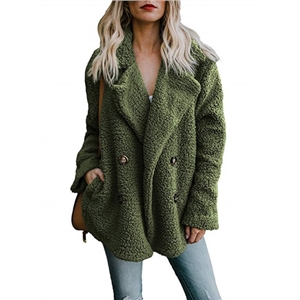Plush Lapel Solid Color Long Sleeve Button Coat7