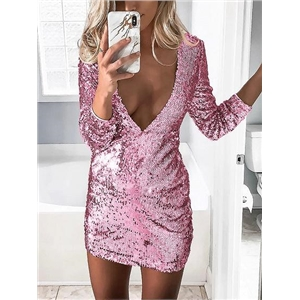 Pink Plunge Sequin Detail Long Sleeve Women Bodycon Mini Dress