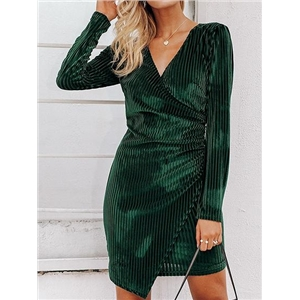 Green Cotton V-neck Long Sleeve Women Mini Dress