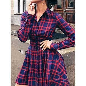 Dark Blue Plaid Button Placket Front Long Sleeve Women Mini Dress