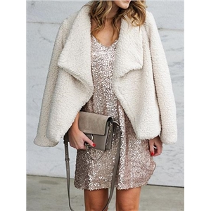 White Lapel Long Sleeve Fluffy Coat