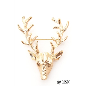 Retro Etched Plated Gold Deer Pattern Christmas Brooch