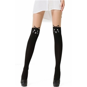 Cute Cat Patterned Paneled Pantyhose