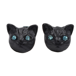 Cute Black Cartoon Cat Stud Earrings